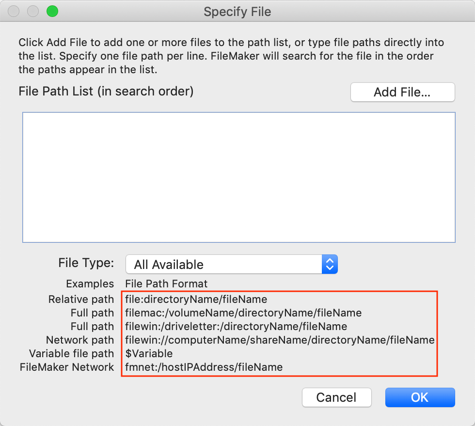Screenshot of the 'Specify File' dialog