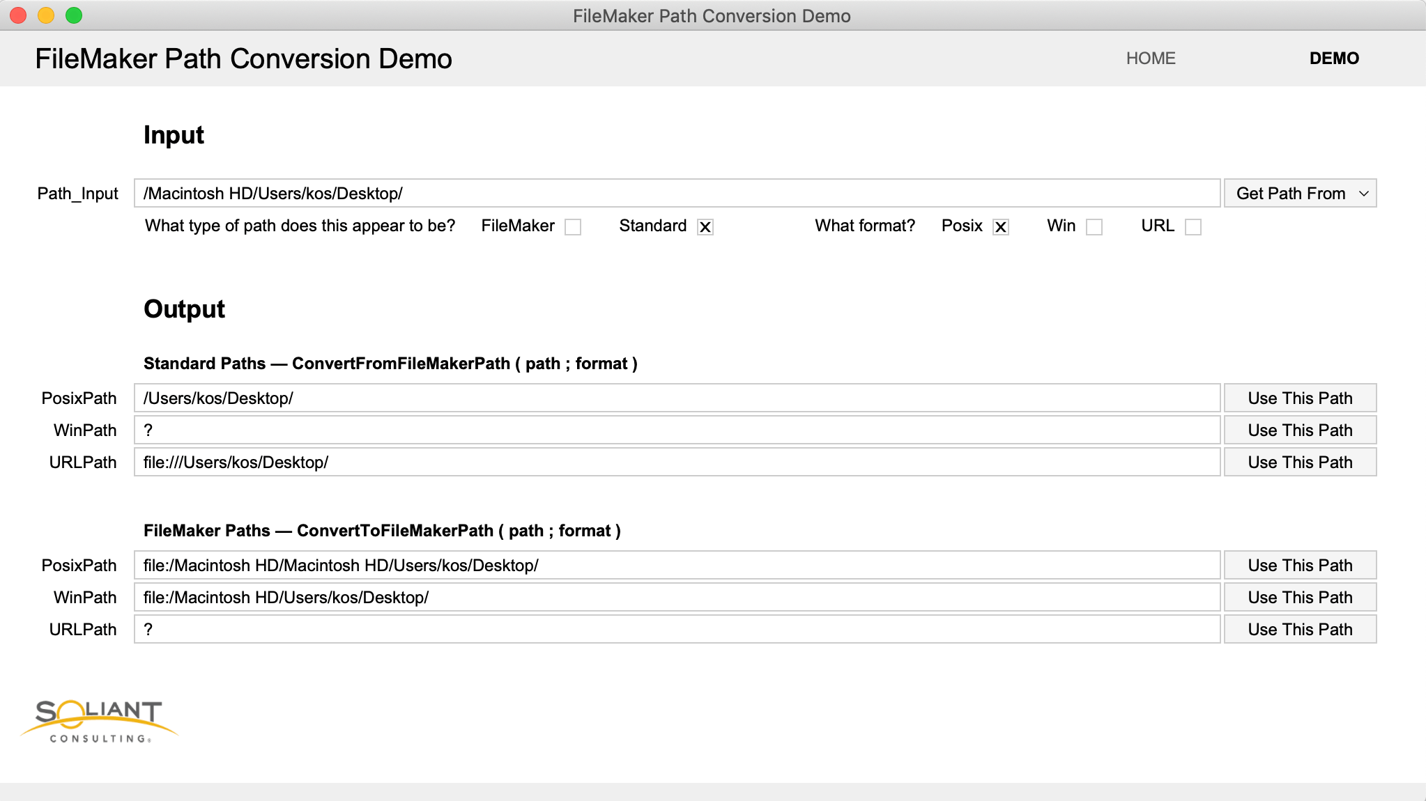 Screenshot from the FileMaker Path Conversion Demo file
