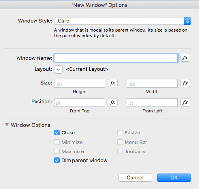 Card window options dialog