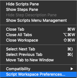Photo of View memu with Script Workspace Preferences... selected