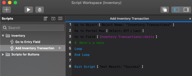 Photo of the Script Workspace viewed in Dark Mode