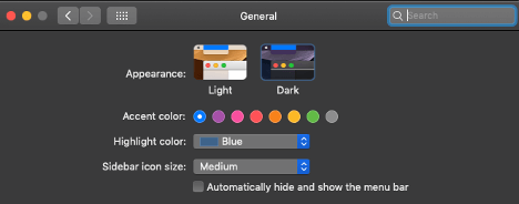 Screenshot from General option in System Preferences that shows 'Dark' selected