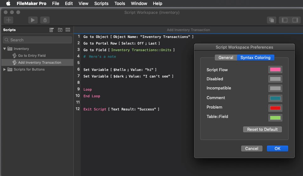 Photo of the Script Workspace with default Syntax Coloring viewed in Dark Mode