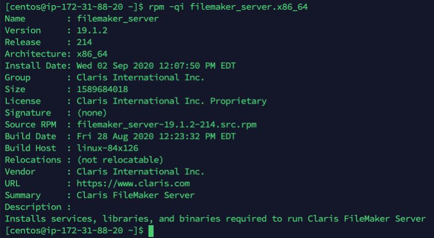 Screenshot of additional installation information
