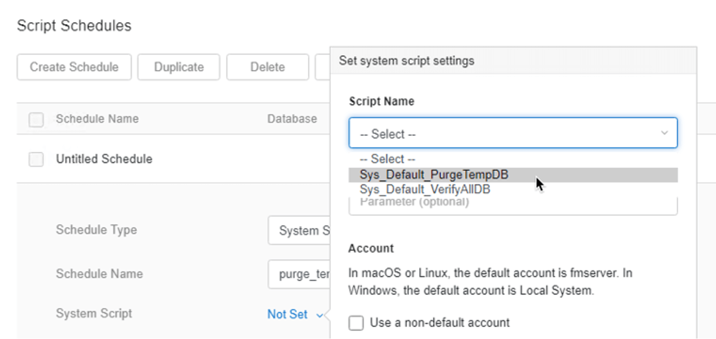 Photo of Sys_Default_PurgeTempDB selected on the dropdown for the script name for the System Script under Script Schedules