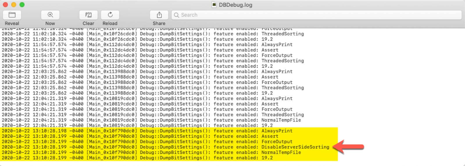 Photo of the DBBug.log file that highlights that the DisableServerSideSorting flag was added