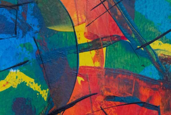 Close up of an abstract oil painting