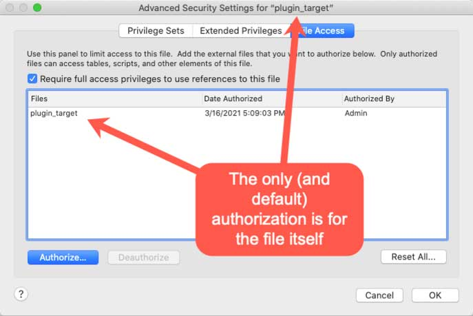 "Screenshot of the Advanced Security Settings for ""plugin_target"""