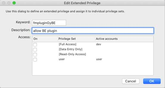 "Screenshot of the ""Edit Extended Privilege"" window adding an extended privilege for the BaseElements plugin"