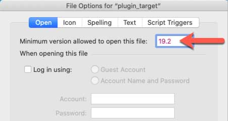 "Screenshot of the File Optios for ""plugin_target"" with ""19.2"" enterd for the minimum version of FileMaker allowed for opening the file"