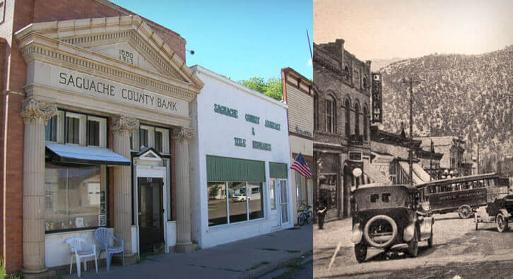 Side-by-side picture or present day Saguache County Bank and historical picture of street from 1930s