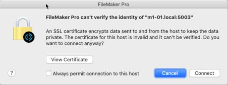 Screenshot of the SSL certificate warning that the server's identity cannot be verified