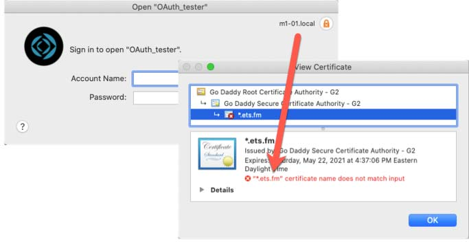 Screenshot of connection showing an orange lock