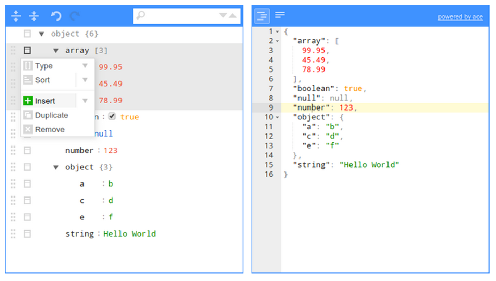 JSONEditor broswer-based tool to view, edit, format, and validate JSON.