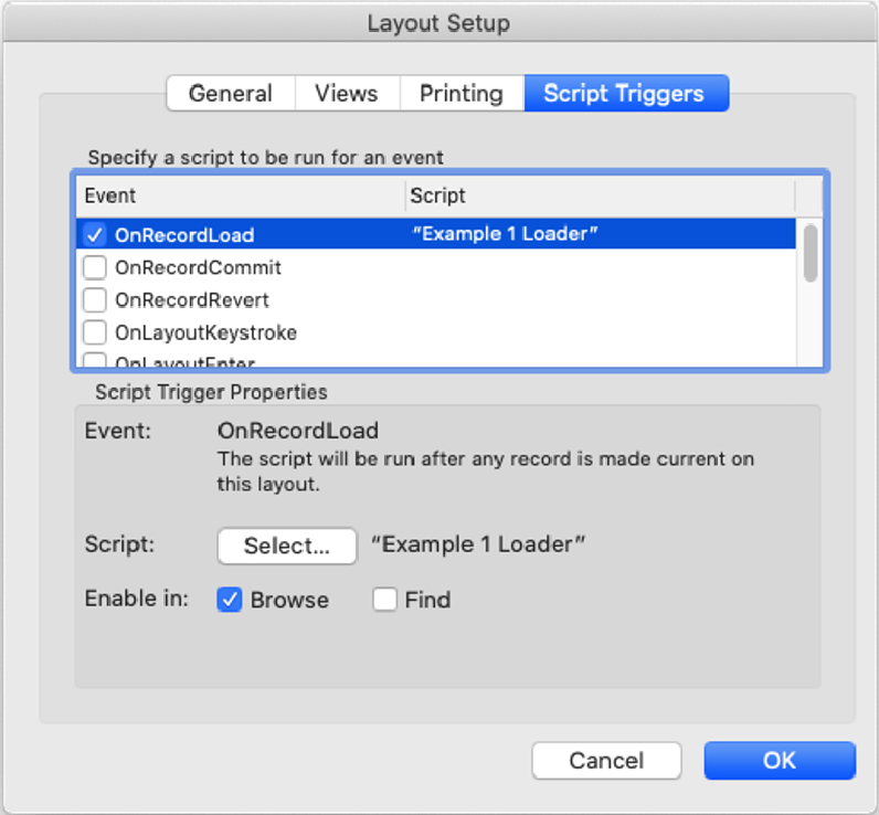 Script Triggers tab in the Layout Setup window with