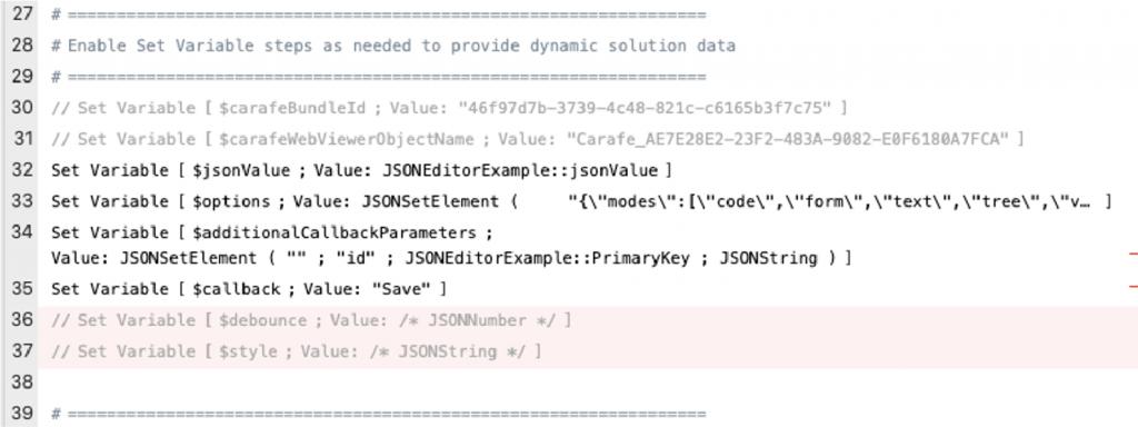 Screenshot of the script variables