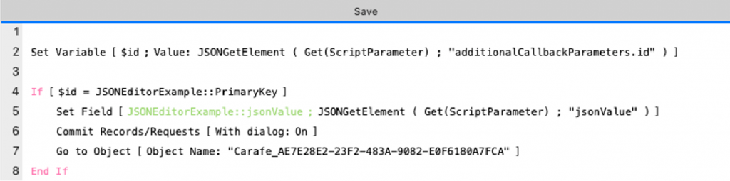 Screenshot of the Save Script reference in the callback option.