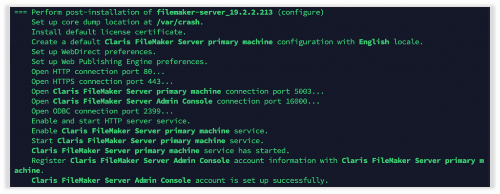 Section of the confirmation output that will show if there are issues with starting the web server