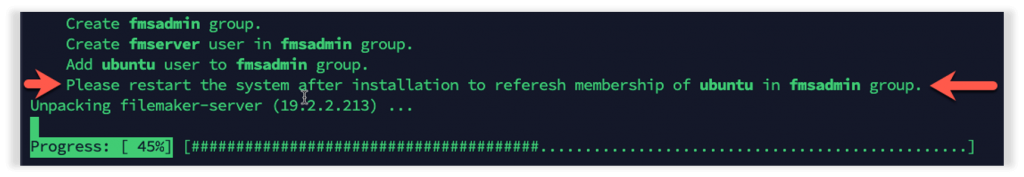 Photo of highlighting prompt to reboot the system.