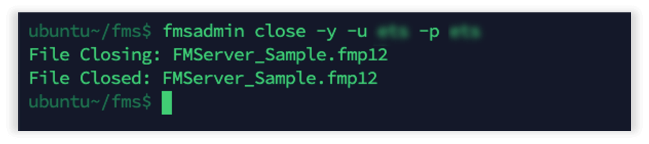 Photo showing telling the system to close the FMServer_Sample.fmp12 file