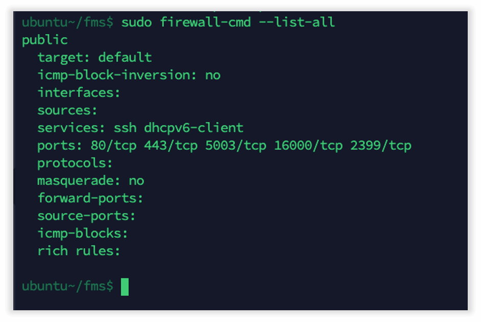 Photo of FileMaker Server configuring the Linux firewall automaticlly and opening ports 80/tcp 443/tcp 2399/tcp 5003/tcp 16000/tcp on the firewall