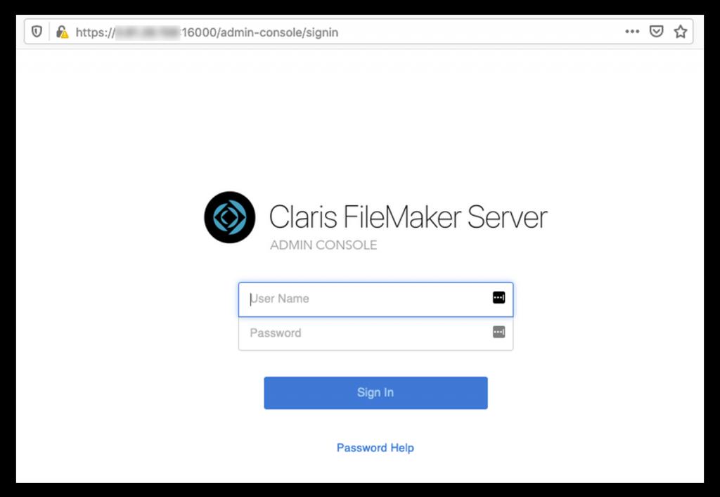 Photo of the Claris FileMaker Servre Admin Console login