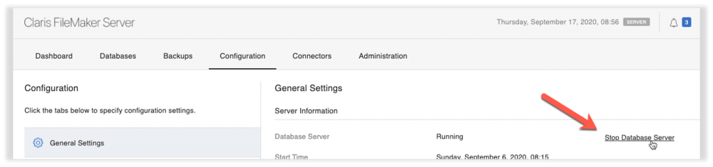 Photo of the Claris FileMaker Server admin console with the