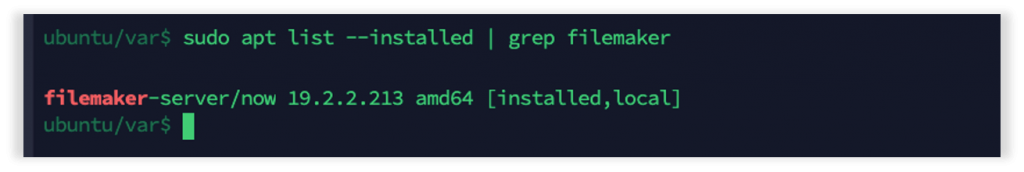 Photo showing results after using the apt list --installed   grep filemaker command to view the version and build info from the yum package manager