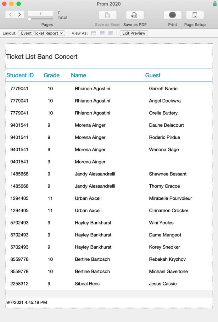 Ticket List report