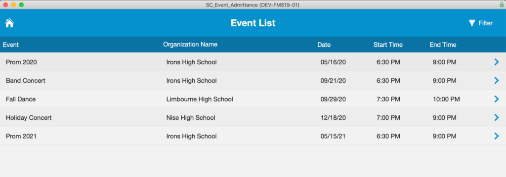 Event list accessed from the Main Menu. The list displays a list of scheduled events.