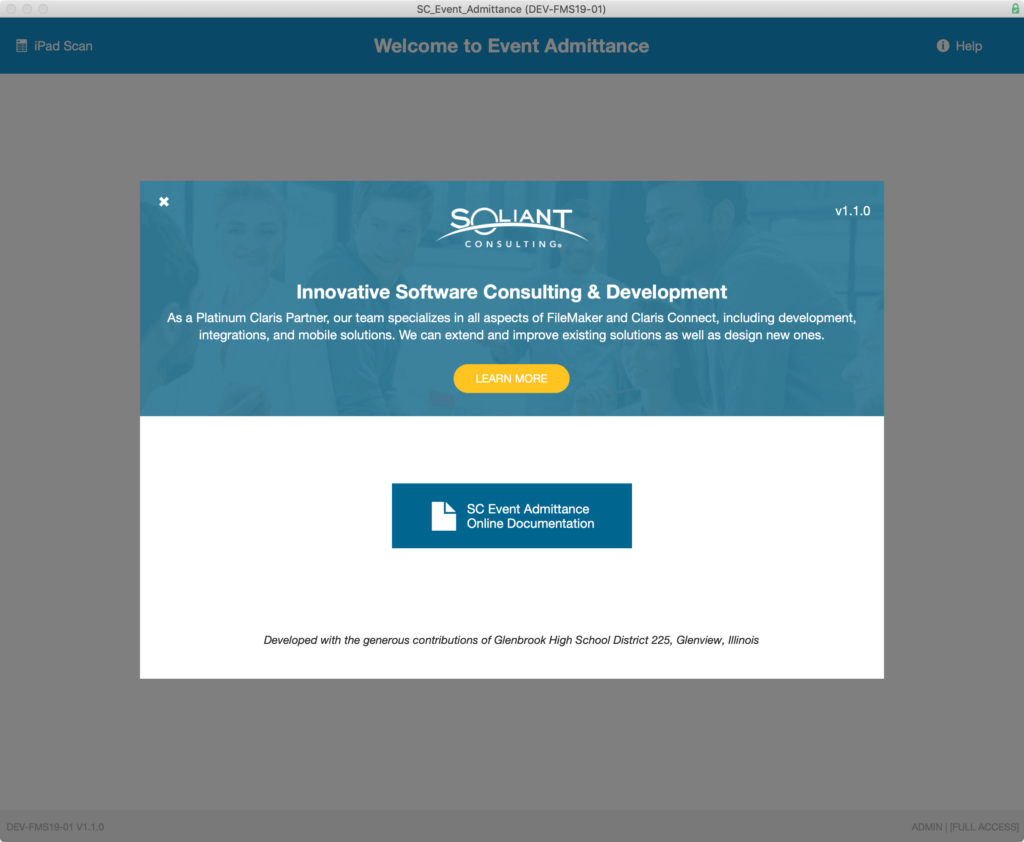 Help screen in the Soliant Event Admittance application