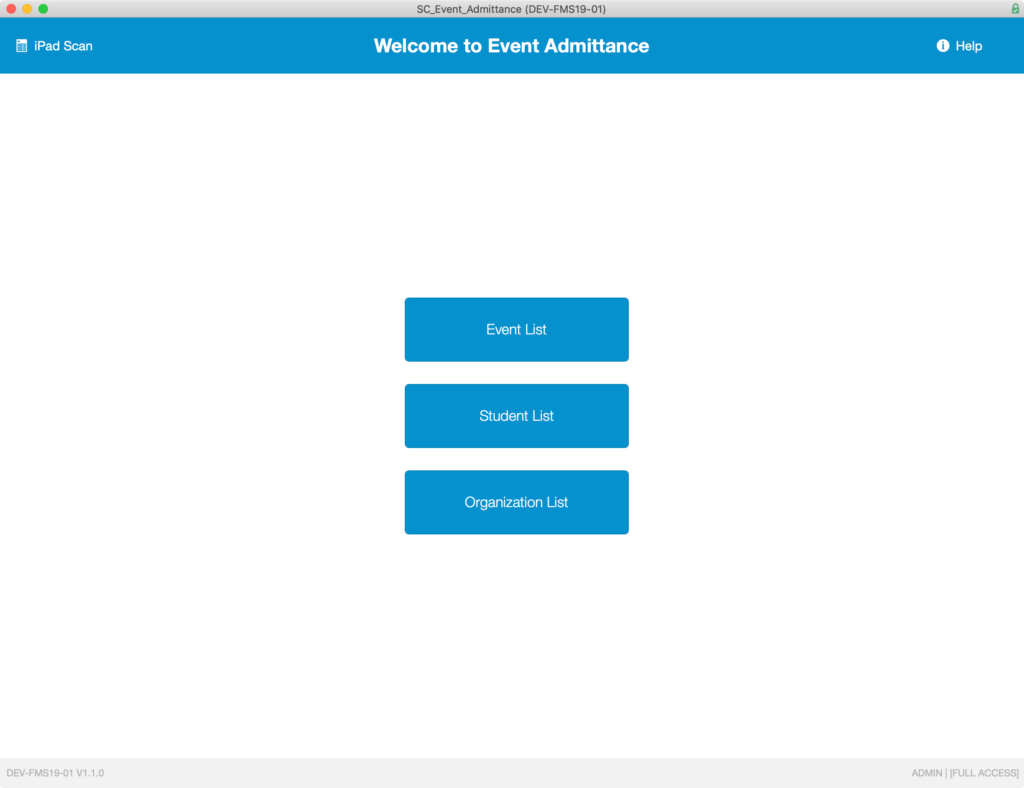 Main menu screen of the Soliant Event Admittance application