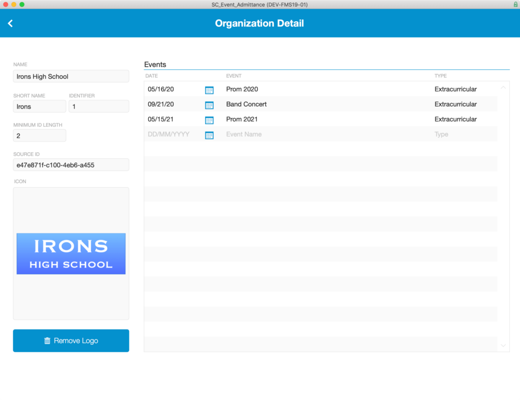 Organization Detail which is accessed by clicking on any row of the Organization List.
