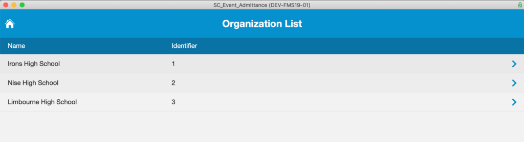 Organization list whose event attendance is tracked in the application.