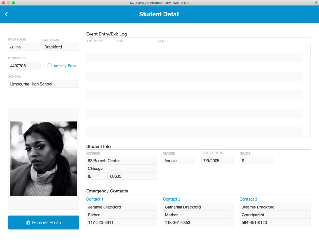 Student Detail that is displayed after clicking on a row in the Student List