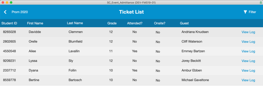 Ticket List that appears after clicking the