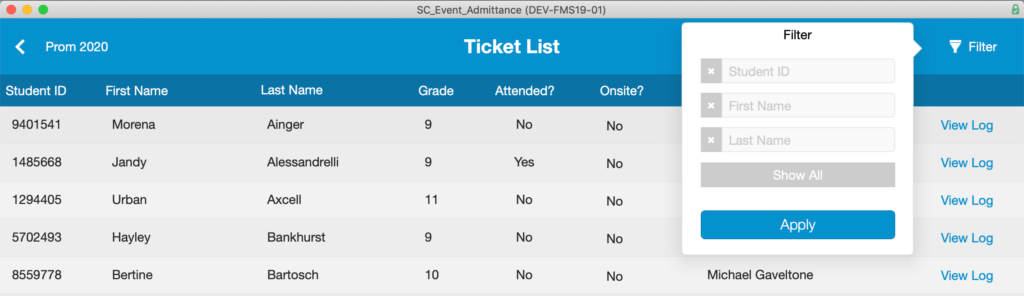 Options for filtering the Ticket List when the