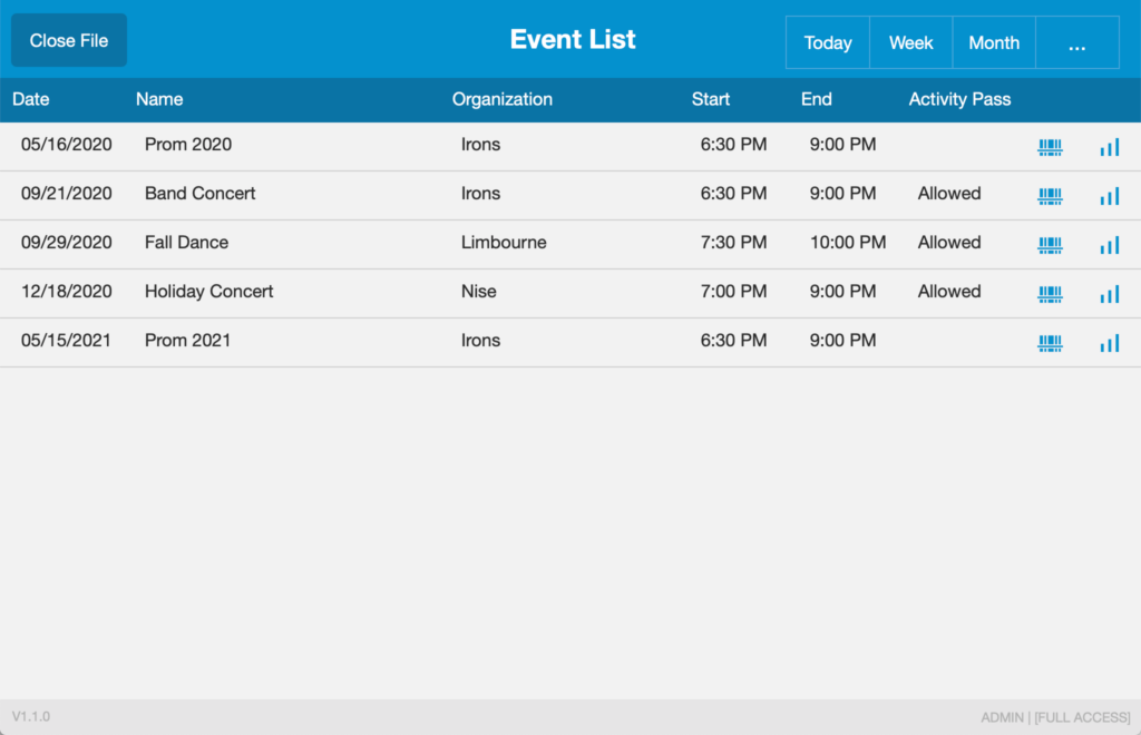 Event List as it appears in FileMaker Go running on an iPad.