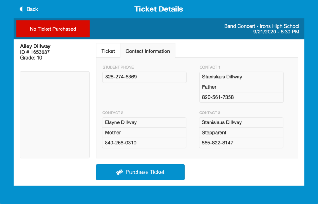 Student Ticket Detail - Contact Information on an iPad running FileMaker Go