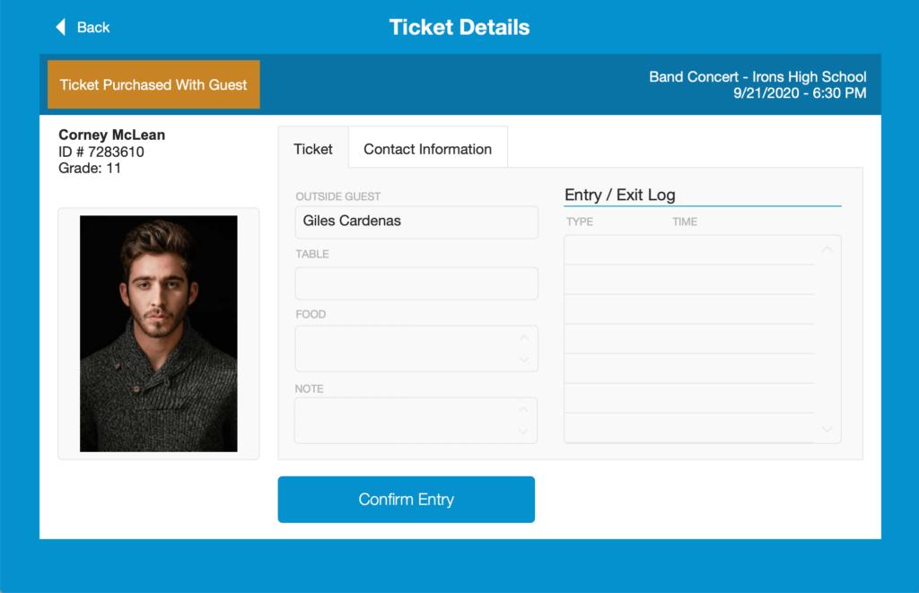 Student Ticket Detail on an iPad running FileMaker Go