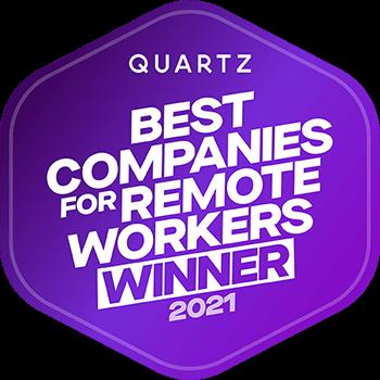 Quartz - Best Companies for Remote Workers Winner 2021